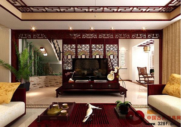 二层中式风格别墅装修效果图-中式现代风格别墅整体高清图片