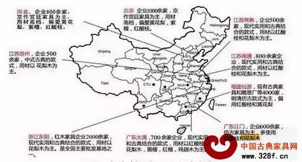 我国红木家具产业集群主要分布图 从地理位置来分,我国红木制品产区主要有五大红木产业聚集地组成,如广东中山、浙江东阳、福建仙游、北京及河北大城、江苏苏州及周边地区。这五大产业聚集地既有传统产区,如北京、江苏苏州与广东中山;也有后起之秀,浙江东阳、福建仙游与河北大城。 福建仙游:企业4000余家,明清仿古款式为主,偏用大红酸枝、小叶紫檀和黄花梨。 江苏常州:企业600余家,现代实用和古典结合的款式,以红酸枝和花梨为主。 江苏南通:企业800余家,现代实用和古典结合的款式,以红酸枝和花梨为主。 广东江门:企业6