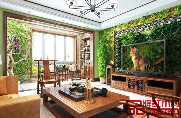 新中式四居装修效果图-品牌红木网