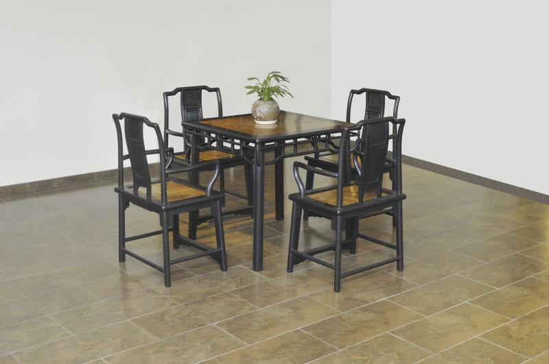 紫光檀+金丝楠木茶桌(5件套)