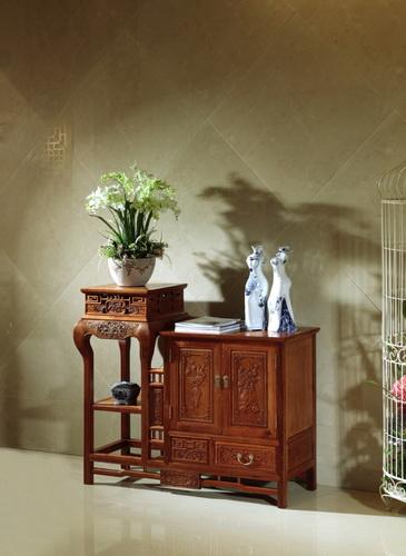 红木家具基地-古典红木家具-缅甸花梨木带花架茶水柜