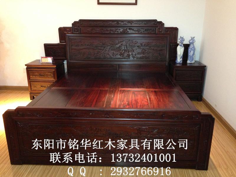 福建龙岩红木家具市场-古典红木家具-如意大床-阔叶黄檀