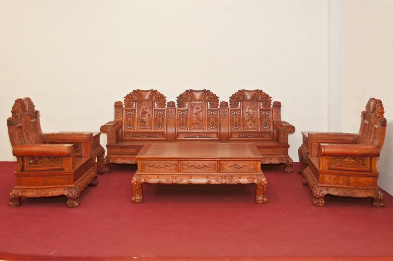 红木云 客厅系列 >> 红酸枝中款象头沙发六件套  产品材质: 其他材质