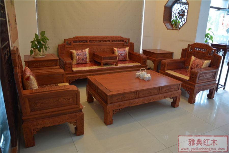 红木沙发 缅甸花梨木锦上添花沙发6件套