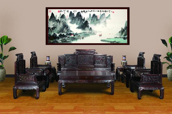 刺猬紫檀山水万字沙发6件套