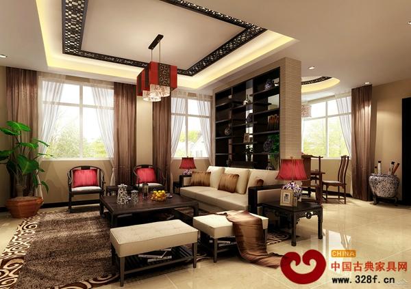 0平新中式别墅客厅装修效果图