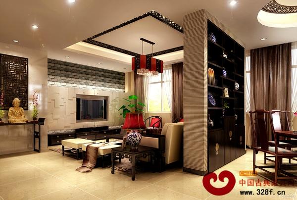 客厅的中国红和太师椅结合现代沙发凸显新中式设计的独特之处。  客厅的中国红和太师椅结合现代沙发,电视采用镶嵌式设计和旁边摆放的金佛形成鲜明对比,凸显新中式设计的独特之处。  餐厅餐桌是极具中国特色的红木餐桌,搭配红色的餐厅吊顶完全体现中式别墅的风格。  卧室采用与客厅一样的红色基础色调,红色的墙壁和吊顶充满喜庆的气息。