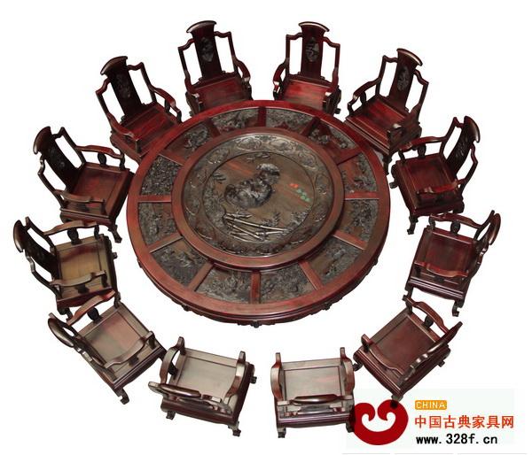 振宇红木——《十二生肖团圆大圆台》