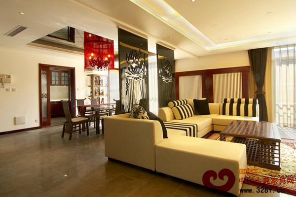 新中式复式楼客厅装修效果图-品牌红木网