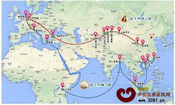 中国古代丝绸之路路线图