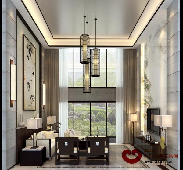 鸟笼状的中式吊灯装饰客厅,自然而空灵