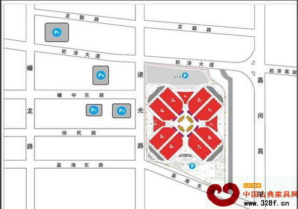 上海家具展停车场示意图