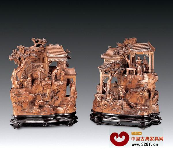 黄杨木雕人物山子图