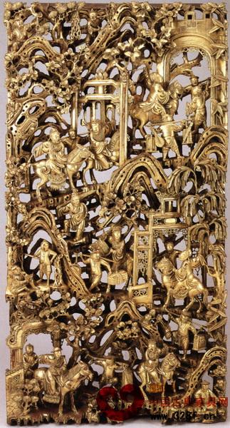 金漆木雕的贴金技艺令人叹服(图为《七贤上京》)