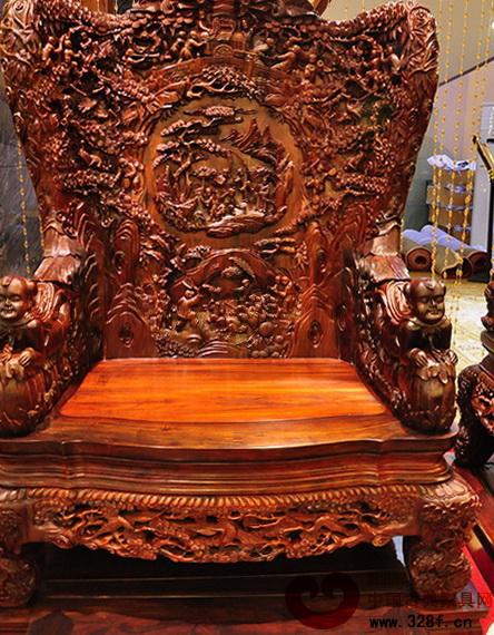 伍氏大观园——大红酸枝百子千孙沙发单椅