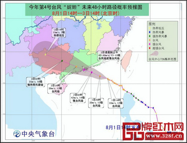 """中央气象台8月1日14时发布的台风""""妮妲""""路径预报图"""