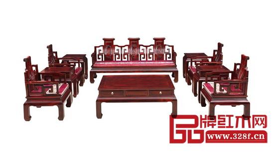富雅红木——明式卷书沙发