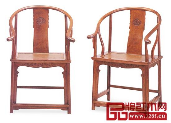 清早期 黄花梨变异式螭龙纹圈椅(洪光明:《明式家具之美》),长59.5厘米,宽45.5 厘米,高100厘米