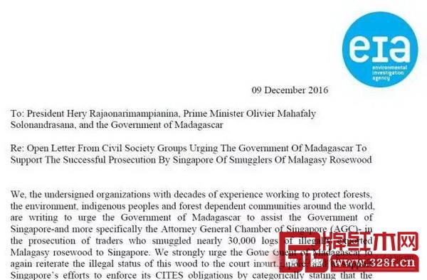 环境调查署呼吁马达加斯加配合新加坡处理红木走私案的联名信