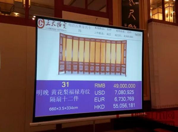 黄花梨福禄寿纹隔扇十二件拍出4900万高价