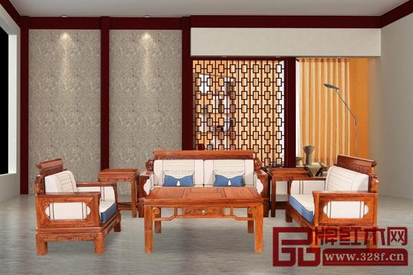 匠王红木《刺猬紫檀・富贵满堂沙发》