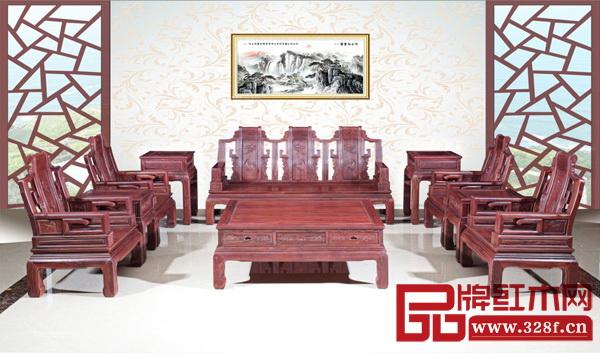 飞龙红木《红酸枝・鸿福沙发》