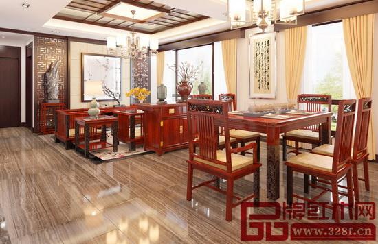 戴为红木东南亚风客厅餐厅图