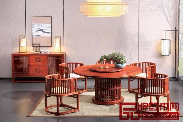 """国寿红木""""世外桃源""""新明式红木家具《明轩餐厅系列》"""