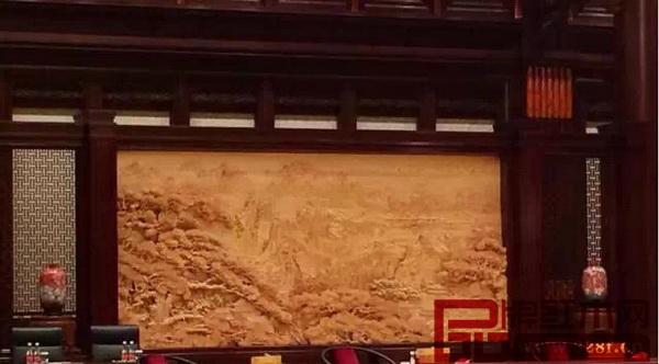 木雕屏风《锦绣河山》