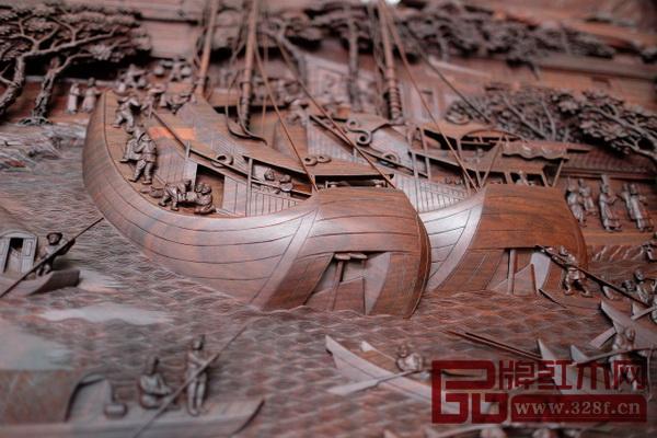 红木雕版《姑苏繁华图》(细节)