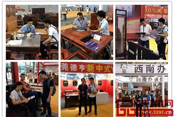首届中国新中式红木家具大会组委会的干事到成都家具展参展企业前推广首届中国新中式红木家具大会