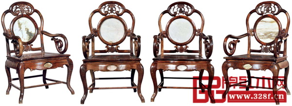 民国红木嵌理石广式扶手椅