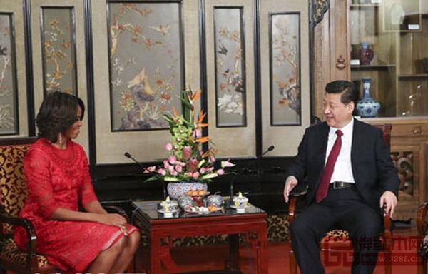 2014年3月,国家主席习近平在钓鱼台国宾馆会见美国总统奥巴马夫人米歇尔