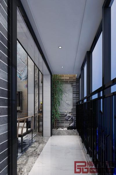 两层阳台通过竹子连接,又分别勾勒出独特的画