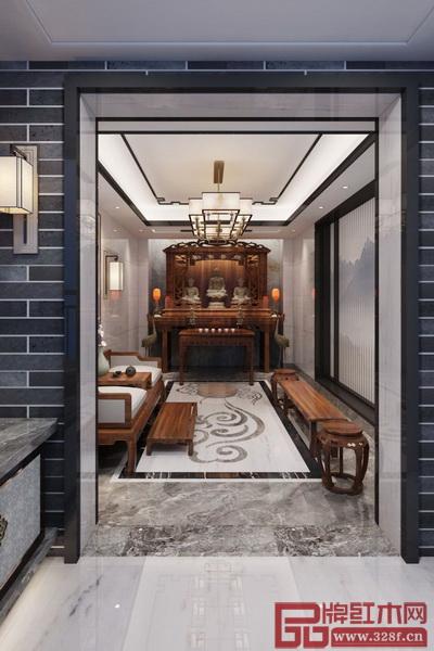 新中式居室中加入佛堂的设计,庄重肃穆,体现了主人的高雅修养