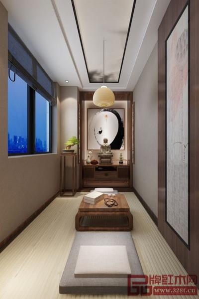 修禅室搭配了软榻和小茶几,以打坐修禅为主要功能