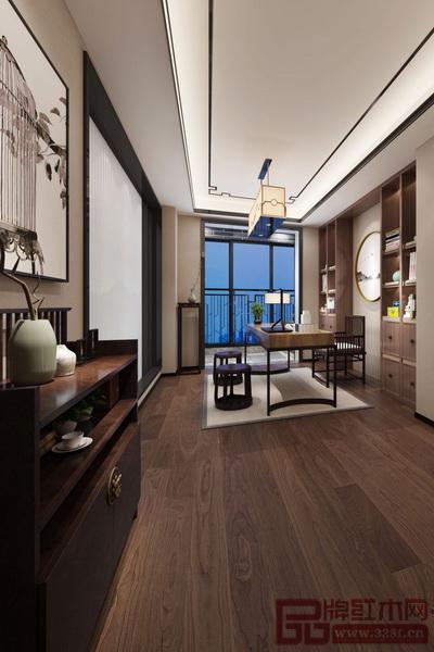 利用旋转楼梯的空余空间加入灯饰及根雕装饰,此景尽显中式韵味.