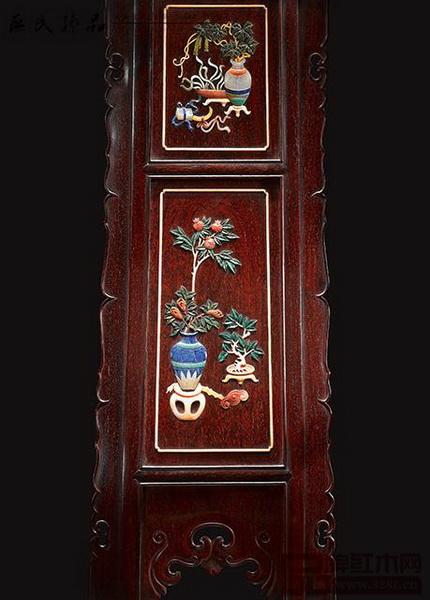 红木家具上的百宝嵌工艺 (图片来源:区氏臻品)