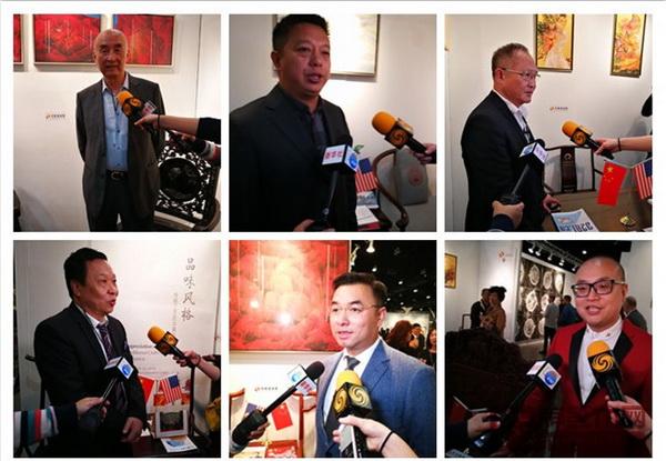 受邀参加首届当代经典红木家具中美交流展的6家品牌代表接受新华社、凤凰卫视采访