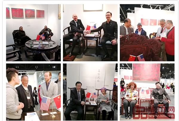 在2018年洛杉矶艺博会中国国家展上,外国友人争相体验中国艺术红木家具