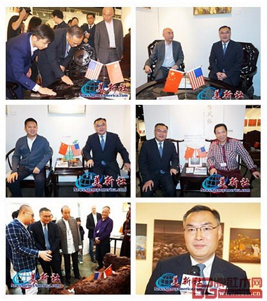中国驻洛杉矶总领事张平参观、落坐参展的红木家具,并接受美新社的采访