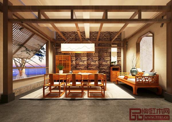 木说茶居空间内,红木家具与茶道、香道、文创、漆艺等搭配相得益彰