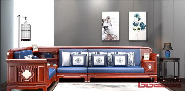 鸿发家具《刺猬紫檀·和合同心转角沙发》