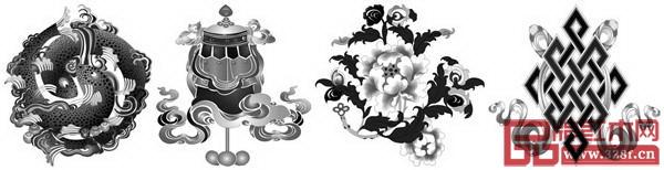 佛八宝纹(从左至右:金鱼、宝伞、莲花、盘肠)