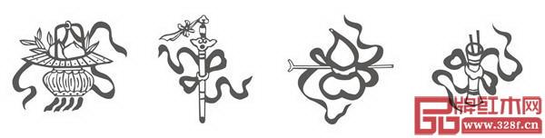 道八宝纹(从左至右:蓝采和的花篮、吕洞宾的宝剑、铁拐李的葫芦、张果老的鱼鼓)