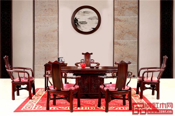 富宝轩红木产品《腰型茶台》