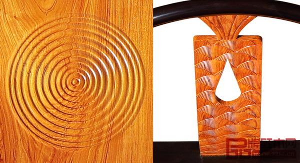 忆古轩・世珀《浅漾休闲椅》的靠背板取八宝纹中的金鱼意象,雕刻细腻的鱼尾、鱼鳞,镂空的水滴随金鱼跃动惊破座面的平静,瑰丽的木纹和水波纹雕刻如水波荡漾,使家具顿时富有动感和情趣