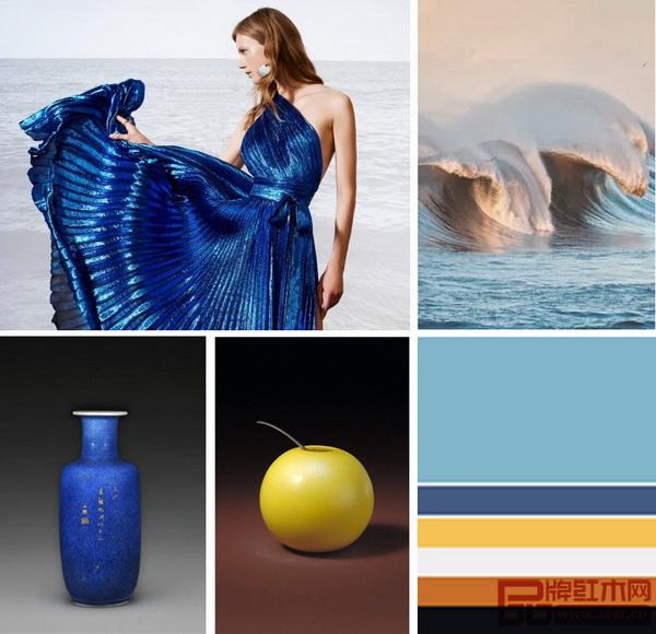 《浅漾》系列汲取天水之蔚蓝、浅蓝,以及康熙年间洒蓝釉、雍正时期黄色玻璃水丞的用色,加上灰白、银色创出匀净的美感,简约更显精致格调,套色拼接家具在极致纯净的软装中散发恒久张力和悠扬的美