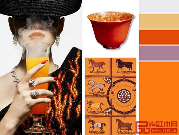 《境观》系列大胆使用国际潮流爱马仕橙的皮质软包,光感特质的色彩鲜艳夺目,为家居带来时尚气氛,亮眼的表现手法蕴藏对自然的感激与热爱