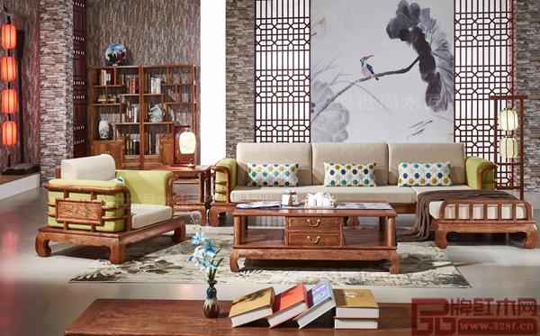 盛世周木匠中式红木家具客厅系列刺猬紫檀《田园贵妃沙发》